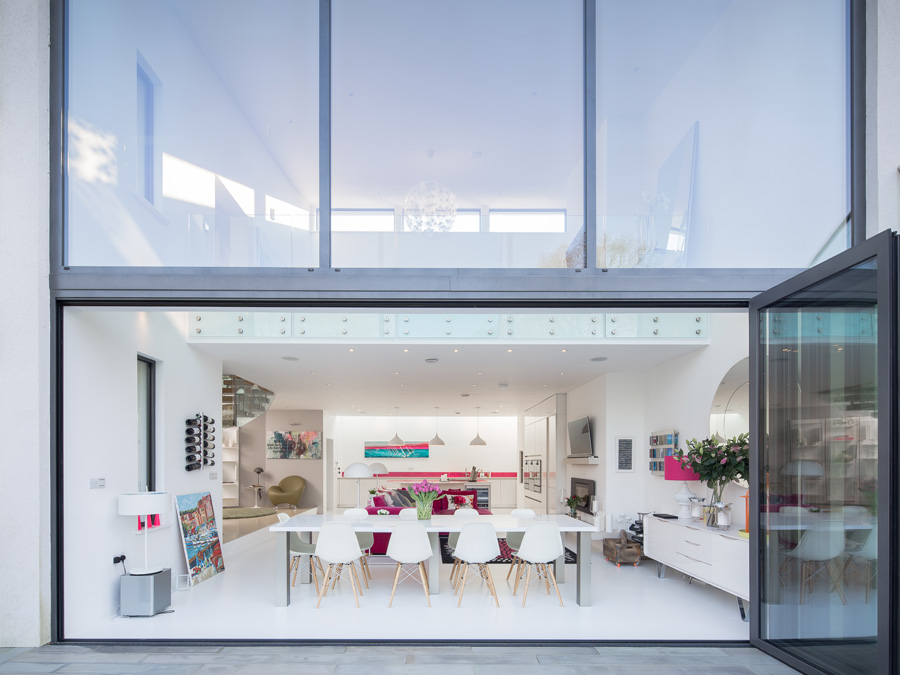 Contemporary Home Bi-folding Doors Open