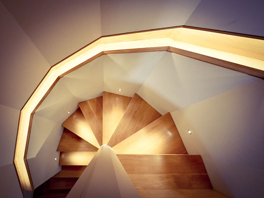 Wooden Staircase and Lighting Design